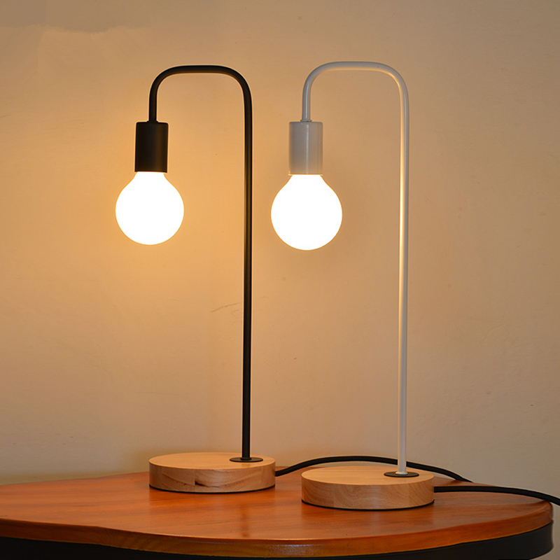 Nordic Wood Iron Table Lamp Bedroom Modern Led Desk Light Study Reading Bedside Home Lamps Fixture New Design Abajur TLL-414