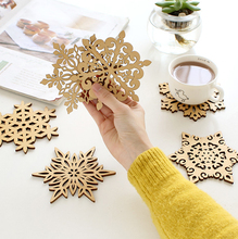 ZAKKA Snowflake Wood Coasters Cup Mat Placemats for Table Decorations Great Gifts 10pcs/lot SQ163(China (Mainland))