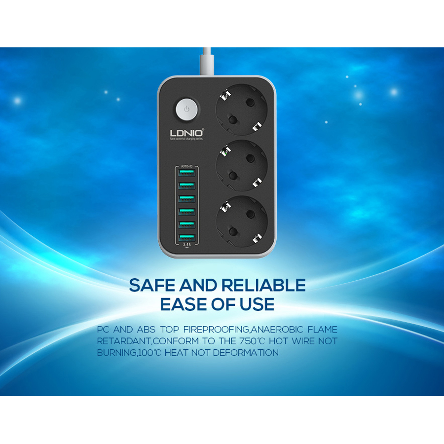 Latest Extension socket 1.6M 5V 3.4A Out-put 6 USB Port + 3 EURO socket EU Plug Power Socket best for home and travel(China (Mainland))