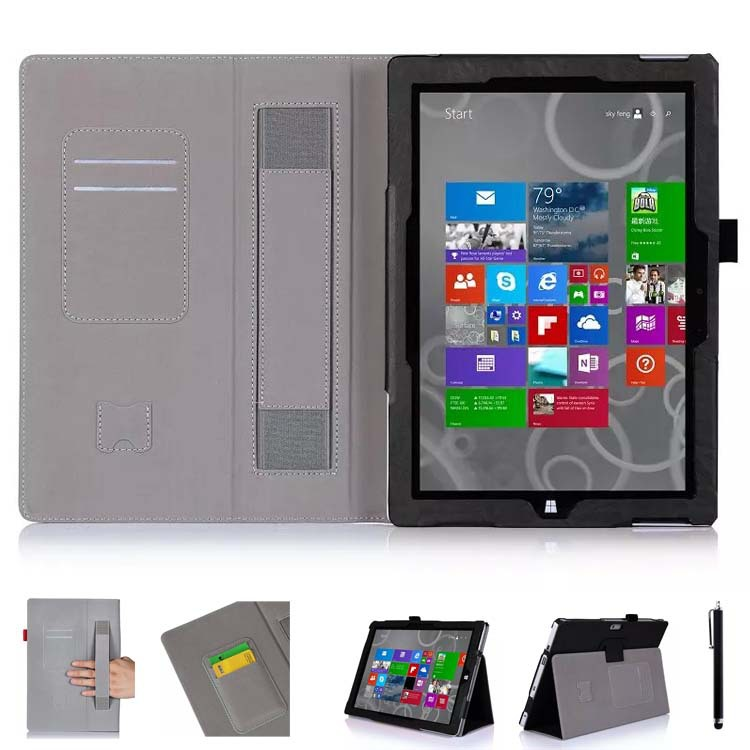 Bi-Fold Flip Smart Cover Folio Stand PU Leather Case w/ Card holder & Hand Strap for Microsoft Surface 3 10.8-Inch Tablet(China (Mainland))