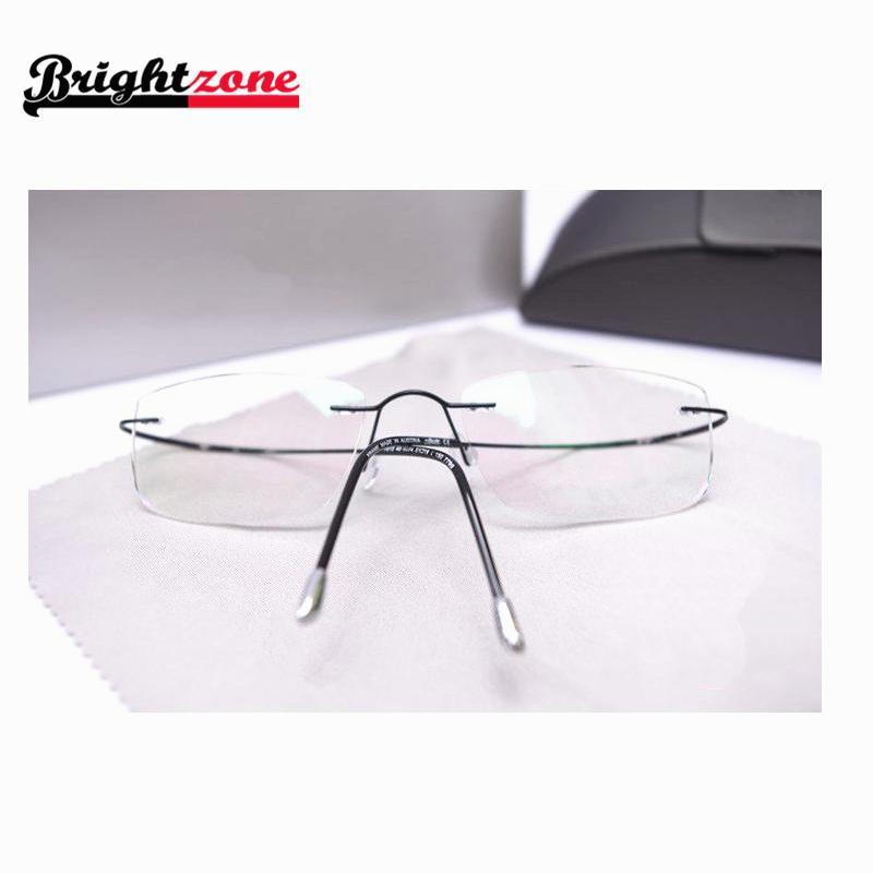 High-end Brand Name Rimless 100% Beta Pure titanium flexible eyeglasses glasses prescription spectacle optical frame 5 Colors(China (Mainland))