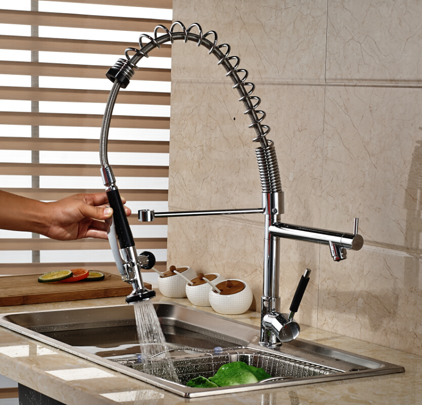 Фотография Single Handle Brass One Hole Kitchen Sink Faucet Hightening Hands Free Kitchen Cold Hot Water Taps Spring Mixer Taps