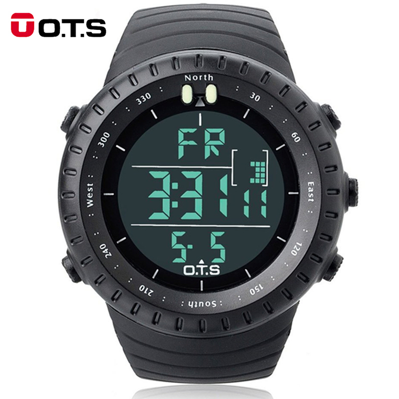 Fashion Men's Brand OTS 7005G Shock Outdoor Waterproof Swimming Sport Arc-shaped Glass LED Light Digital Watch Relogio Masculino(China (Mainland))