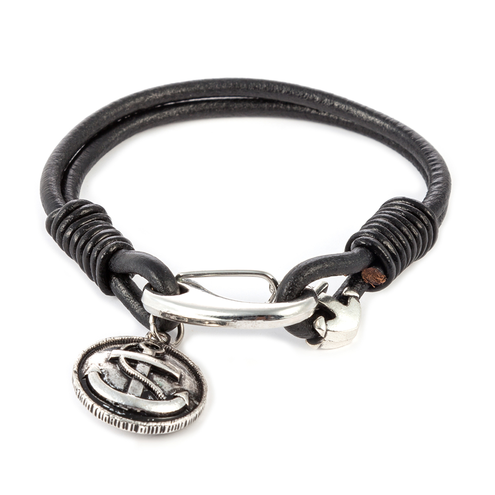 I SHOW Vintage Silver Anchor Bracelet Black Leather Charm Bracelets Men Jewelry Pulsera Ancla Party Gift(China (Mainland))