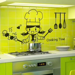 Kitchen small cook cooking happily wall stickers decoration decor home decal fashion cute waterproof family house glass cabinet - cc 414349 store