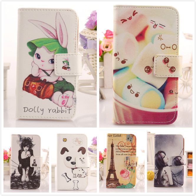 Lovely Cartoon Patterns Flip PU Leather Cover Book-Style Protection Skin Cell Phone Shell Card Holder Case Wiko Ridge Fab 4G