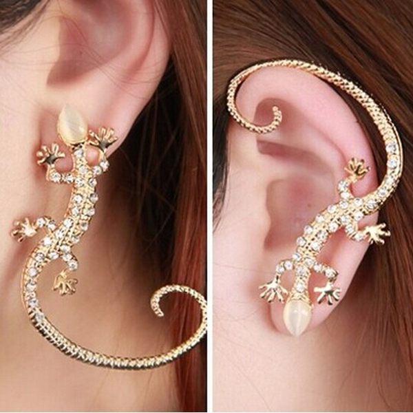 2PCS 2014 New! Popular Imitation Rhinestone Gold Gekkonidae Lizard Ear Hook Stud Earring Jewellery Accessories(China (Mainland))