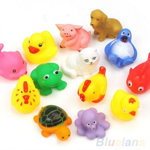 13Pcs Cute Soft Rubber Float Sqeeze Sound Baby Wash Bath Toys Play Animals Toys 1QKM(China (Mainland))