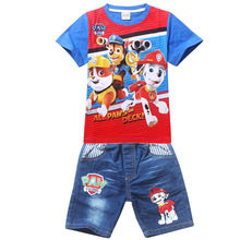 2016 summer style Boys T-shirts dog T-shirt short sleeve cartoon t shirt kids clothes boys brand clothes sets(China (Mainland))