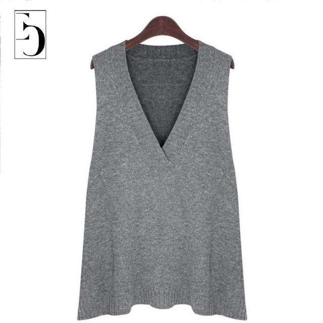 Большой размер осень асимметрия свитер жилет 2015 мода новый женские V шеи рукавов ...
