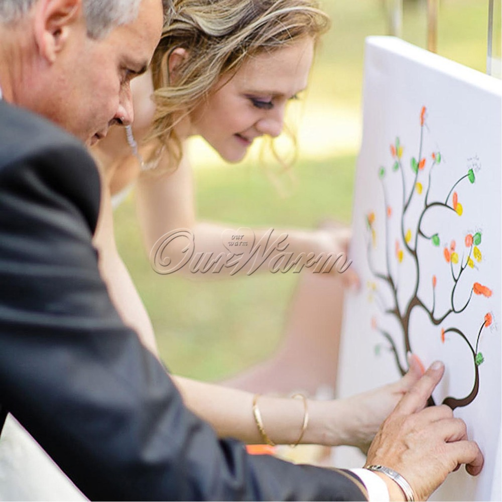 Many Styles Wedding Fingerprint Tree Signature Guest Book for Wedding Party Graduation Sign in Figure Painting Size S/L(China (Mainland))
