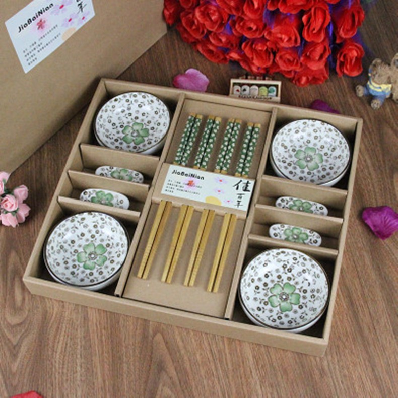 Buy 12 Pcs/Set Japanese Style Cherry Blossom Chopsticks Ceramic Sushi Dishes Sashimi Soysauce Dish Set Gift Box cheap