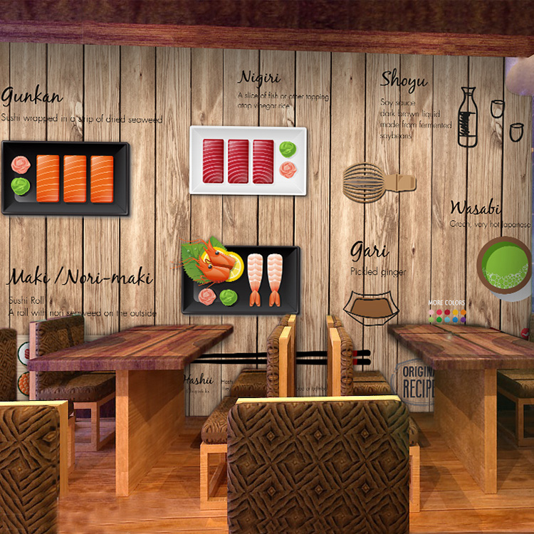 Free Shipping 3D cartoon hand-painted Japanese Restaurant mural wallpaper Noodle sushi shop wood wallpaper(China (Mainland))