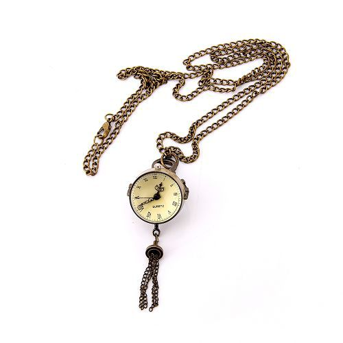 Charming fashion designer jewelry antique gold color alloy Numeral ball pocket watch with tassel 95605(China (Mainland))