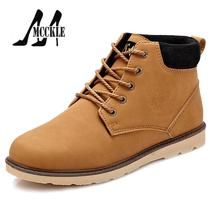Men's Work&Safety Ankle Boots PU Leather Lace-Up Round Toe 2016 New Brand Shoes Man Flats High-Top Comfort Simple Style W0315(China (Mainland))