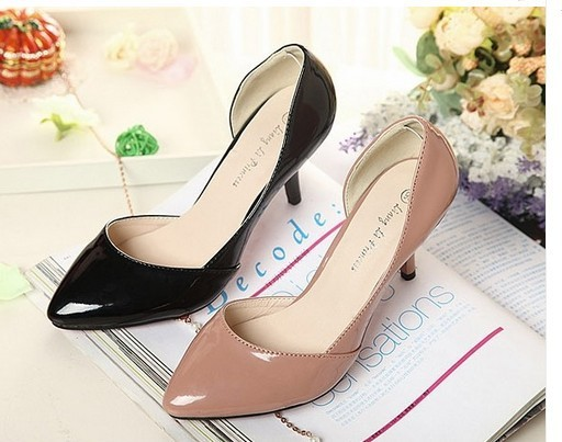 Sexy Pointed Slender Medium Heel Pump Sandals Shoes Patent Leather PU Free Ship
