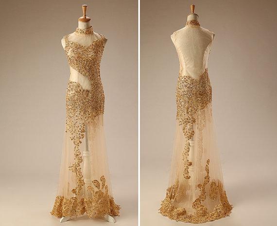 Golden Yellow Prom Dresses 105