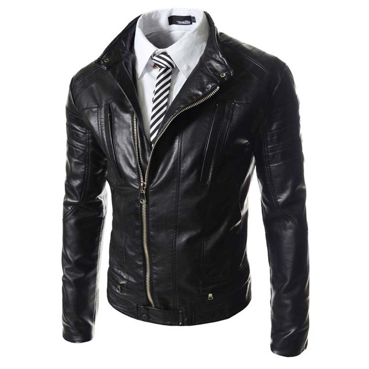 Man standing collar leather jacket new fall men's leather motorcycle jacket + pu leather style of men cultivating black-brown(China (Mainland))