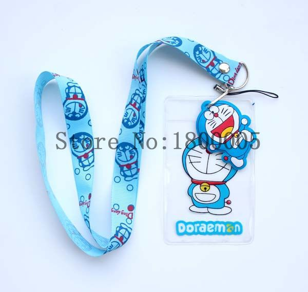 100 pcs Doraemon Lanyard High Quality Lovely Cute Blue Cat Lanyard ID badge holder key neck strap for Kids Student(China (Mainland))