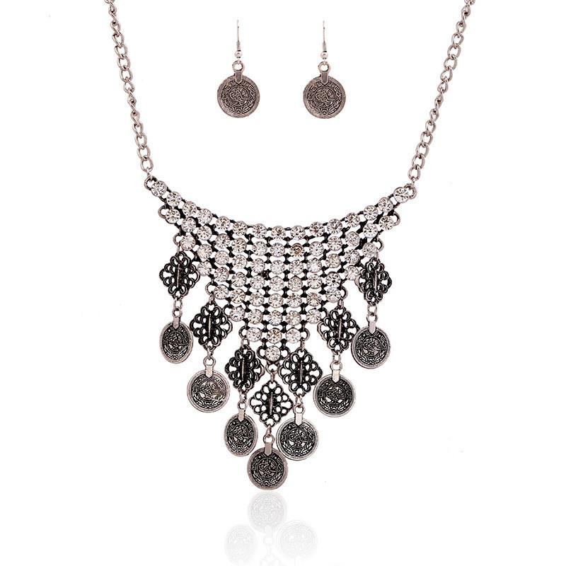 Hot Bohemian Rhinestone Crystal Floral Design Coin Tassel Bib Necklace Earrings Set Ethnic Turkish Jewerly Wholesale 6 Sets