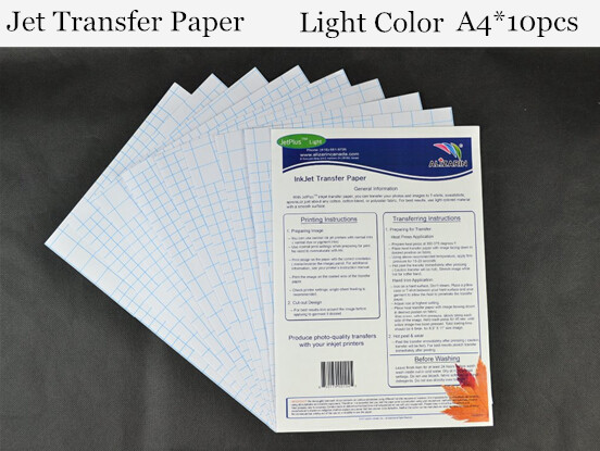 (A4*10PCS) Import JET Light Inkjet Heat Transfer Printing Paper for Fabrics Iron Clothes Stickers Thermal Transfer Paple JET(China (Mainland))