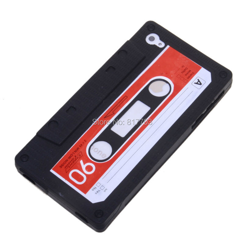 Retro Cassette Tape Silicon Case for iPhone 4 4S /Black /Red/ White(China (Mainland))