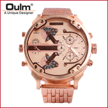 heavy alloy suit men watch quartz PC21S movt big dial dual time zone Oulm brand factory direct sell(China (Mainland))