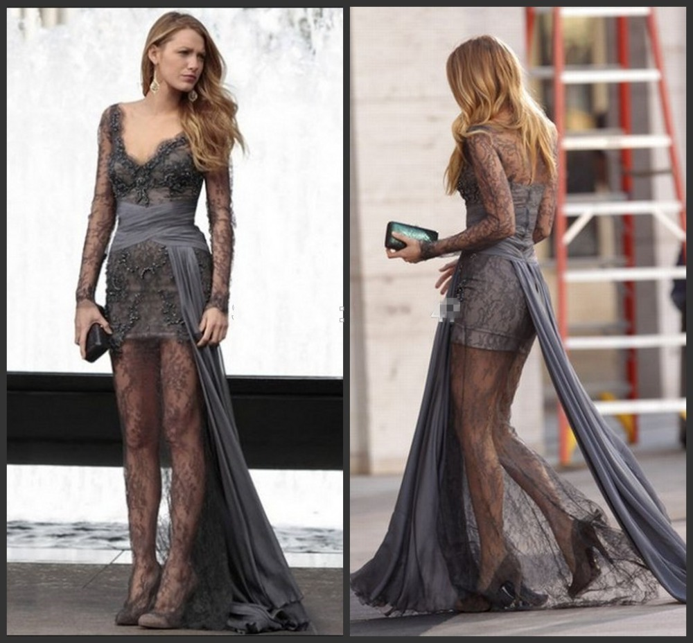 Sexy Lace Cocktail Dresses Gossip Girl Blake Lively Grey Sexy Lace Long  Sleeve Celebrity Prom Gown c5ed084e9459