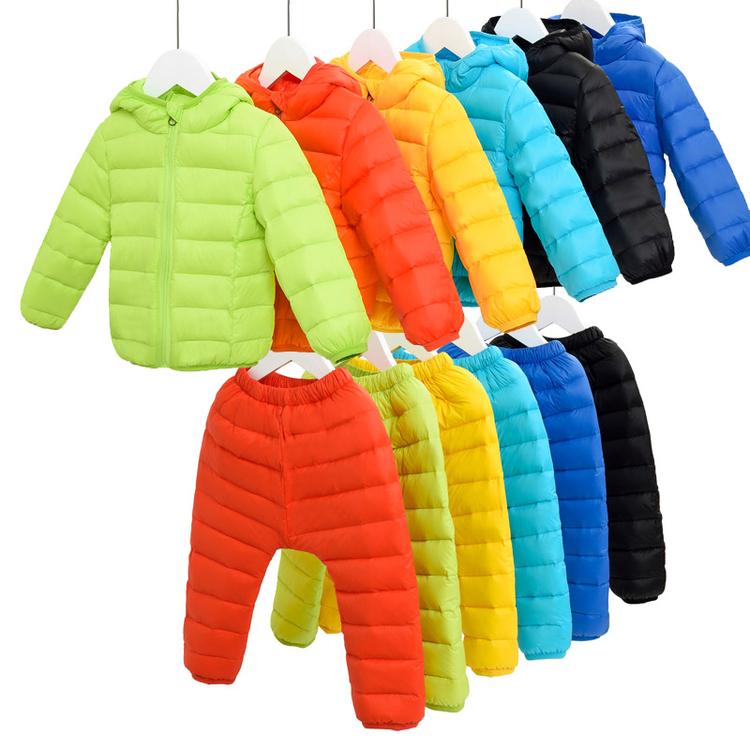 Baby girls boys winter clothes set Suitable Cute thicken jacket+overalls Boy Set Kids Ski Suit Jackets+ Pants 2pcs/set(China (Mainland))