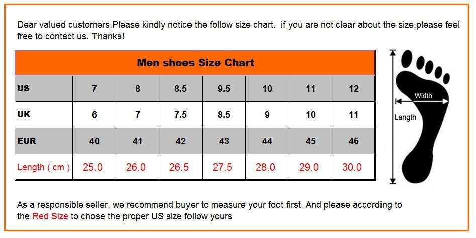 Men size conversions