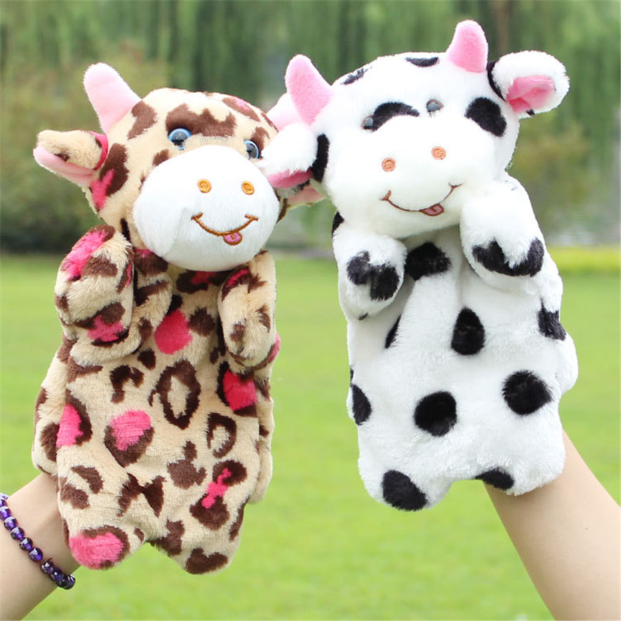 2016 Baby cute stuffed Plush toys Kindergarten storytelling props cow hand Puppets Kids christmas gifts toy Puppet TO145(China (Mainland))