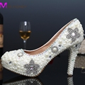 Women Sexy High Heels Shoes Woman Thin Heel Handmade Party Rhinestone Pumps Platform Pumps Crystal Pearl