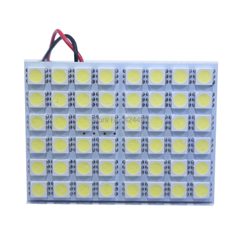 2X Led Panel 48 SMD 5050 Car T10 Ba9s Adapter Festoon Dome Light Accessories Auto motor white blue red 12V panel - HK Union Co., Ltd. store