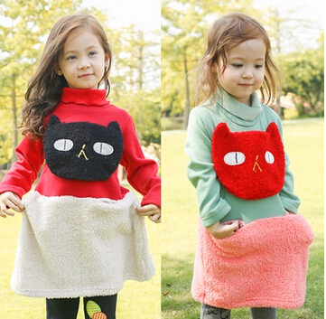Fall and Winter Fashion Lovely Cat Thicken Girl Dress Fleece Children Dress / Long Blouse Clothes Red Green(China (Mainland))