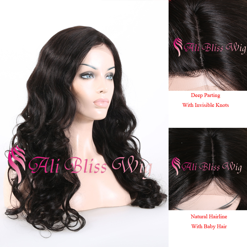Cheap Virgin Brazilian Deep Part Lace Front Wig 100% Human Hair Loose Wave Wig Side Part With Invisible Knots Glueless Lace Wig(China (Mainland))