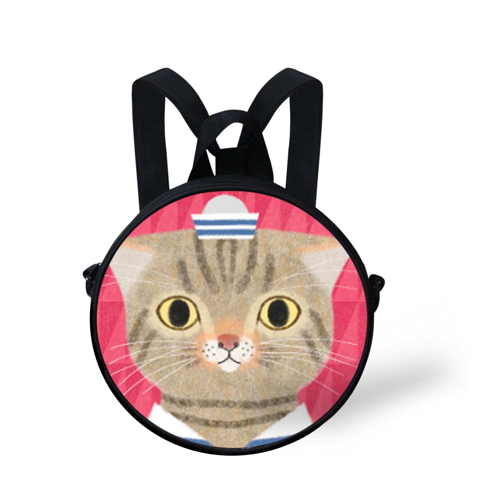 Cute Cartoon Cat Round Kids Bags 3D Cat Smiling Faces Messenger Bags Dual-use Bags for Boys Girls Casual Portable Children Bags(China (Mainland))