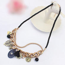 2015 Retro 18K Gold Plating Metallic Buckle Leaf Horse Tassel Pendant Necklace Women Jewlery Free Shipping