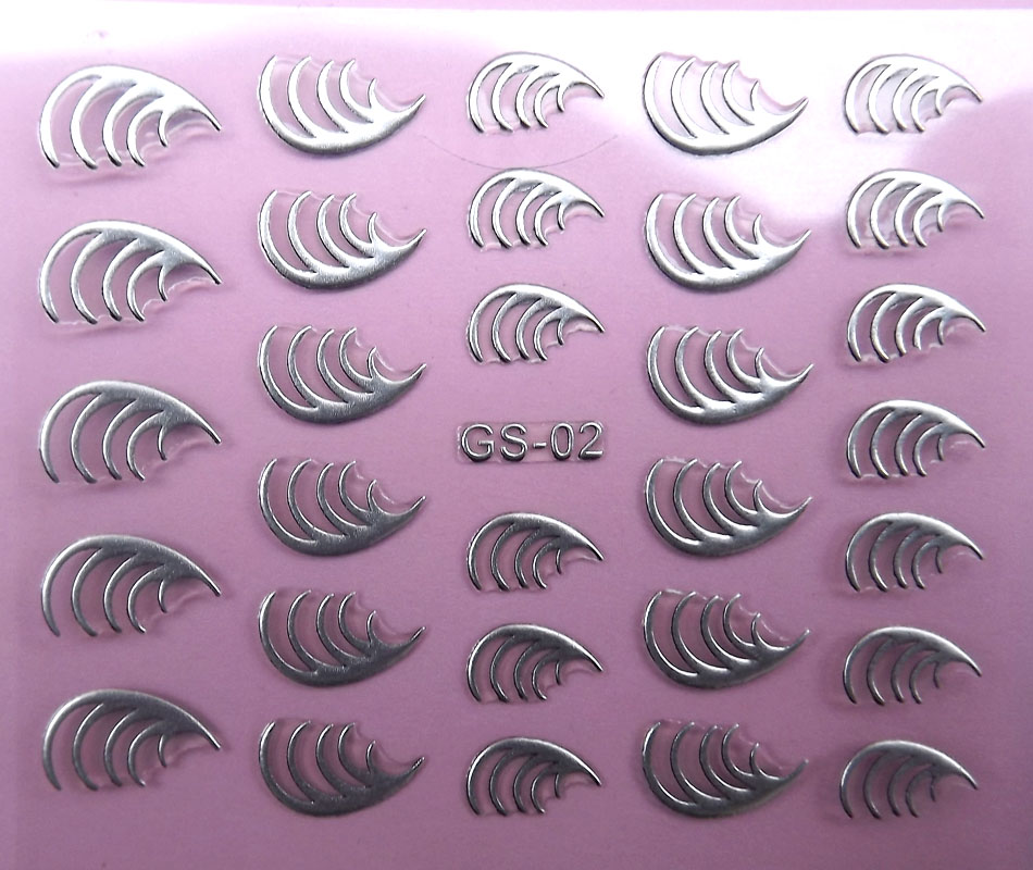 20pcs/lot Colored drawing nail art patch finger sticker three-dimensional 3d nail polish oil applique silver flowers(China (Mainland))