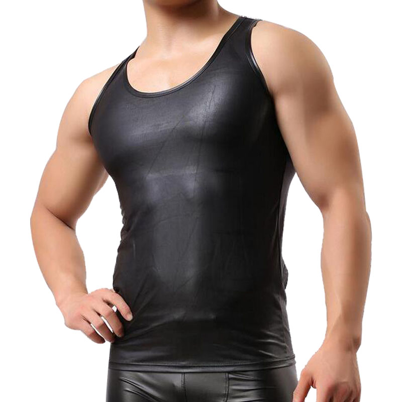 Brand New Sexy tank top men Leather T-Shirt Men's Sleeveless Singlet Undershirts for Fun Party Vest Tank(China (Mainland))