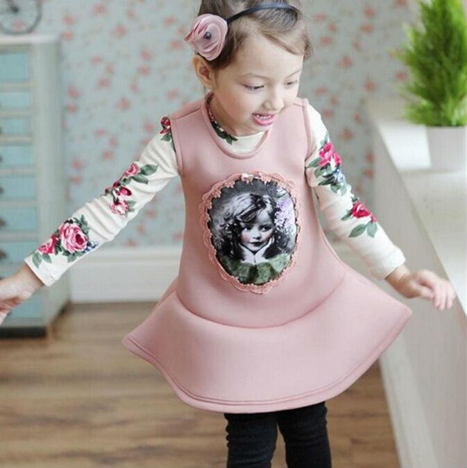 2015 New Spring Korean Style Beautifull Sleeveless Girl Dress  Space Cotton Children Vest Dress Princess Dress Pink Gray<br><br>Aliexpress