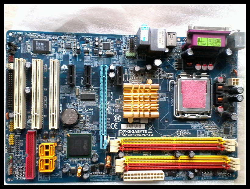 Free shipping Used Gigabyte 945PL-S3 945 ATX motherboard supports 45nm with baffle(China (Mainland))