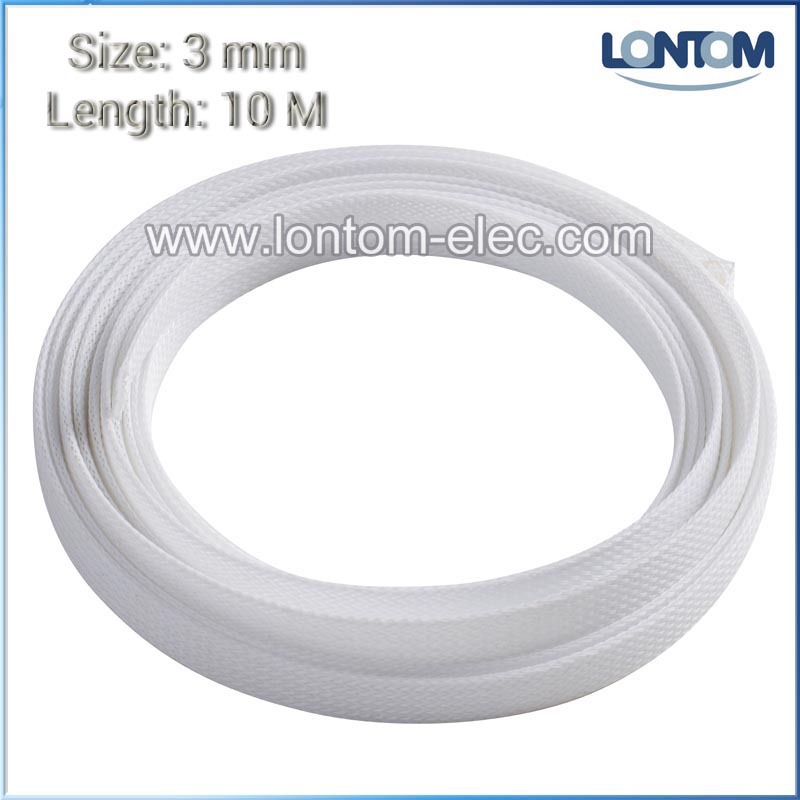3mm 10 Meters White Braided PET Expandable Auto Wire Cable Gland Sleeves Sleeving High Density Sheathing<br><br>Aliexpress