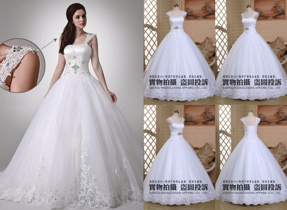 Free shipping !2015 New Fashion Elegant bridal Modest A-line Appliqued Tulle soft Stock White wedding dress Belt With Crystal(China (Mainland))