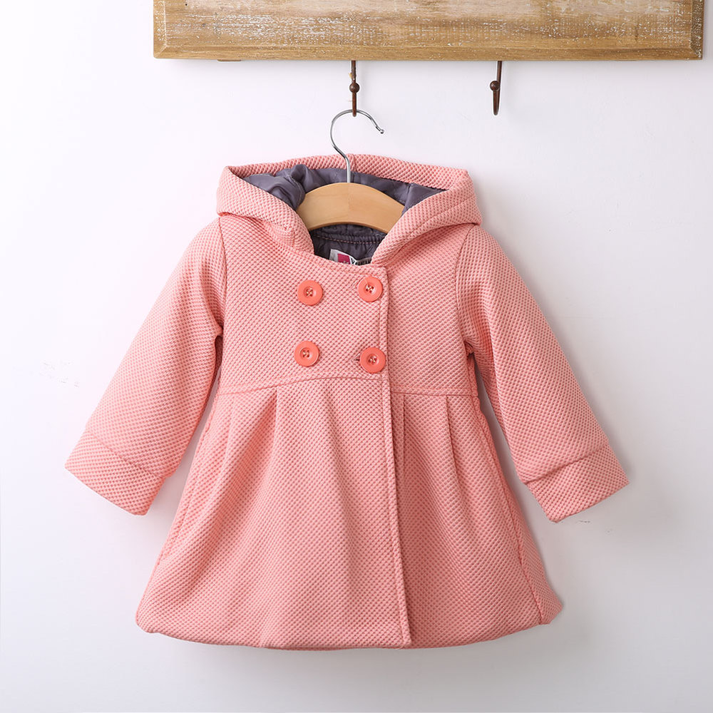 New Baby Toddler Girls Fall Winter Horn Button Hooded Pea Coat Outerwear Jacket Girls Warm Hooded Winter Coat(China (Mainland))