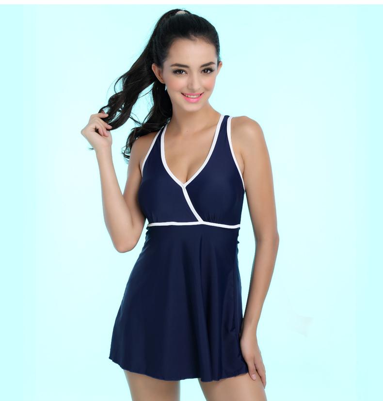 m 4xl femmes une pi ce maillot de bain robe modeste bleu maillot de bain sans manches maillots. Black Bedroom Furniture Sets. Home Design Ideas