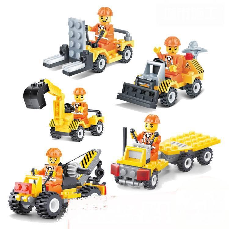 Building Blocks Set Urban Construction Team City Truck Crane / Educational Bricks Toys / Learning Education Toys Gift Brinquedos(China (Mainland))