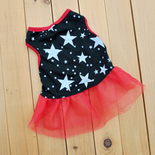 Small Dog Puppy Stars Printed Vest Dress Pet Cat Cotton Cozy Apparel Skirts Best