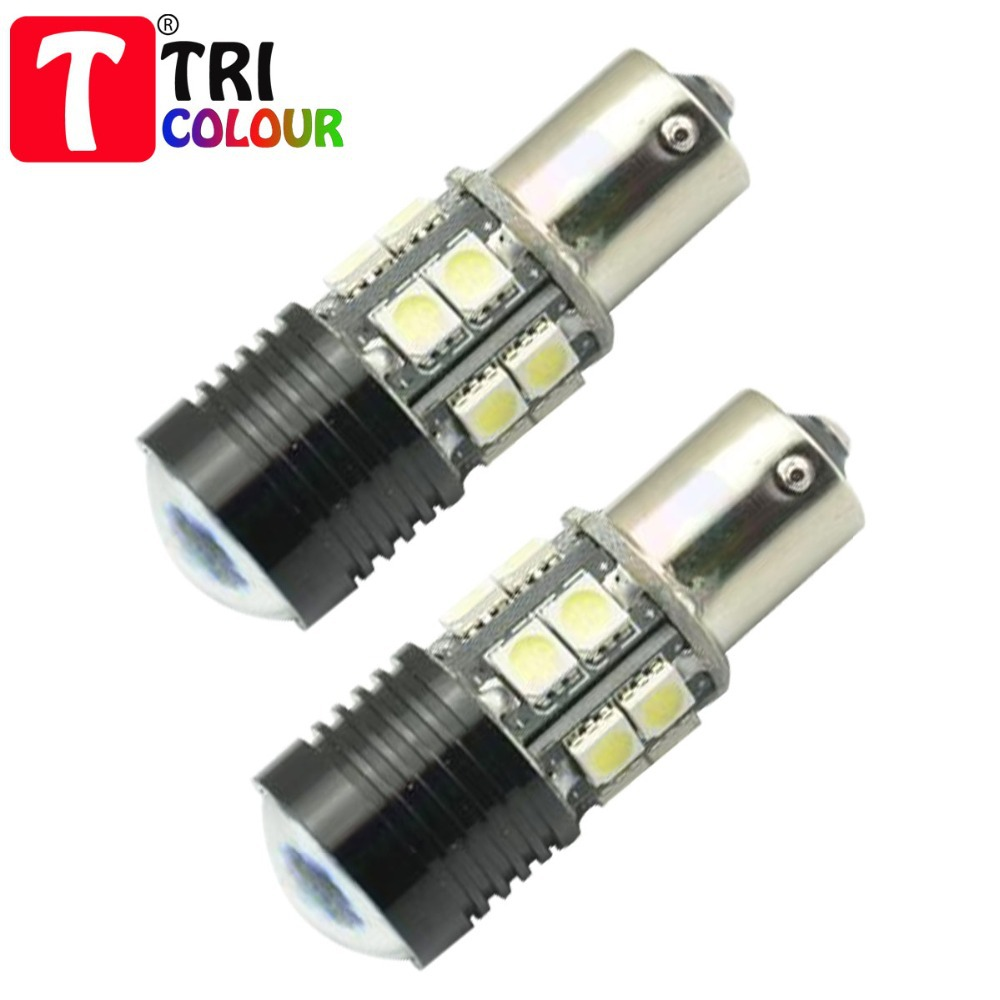 2X LED Automobile lamps P21W 12 LED SMD5050 with lens CREE Car Parking Reverse stop tail light lamp bulb white #LF12(China (Mainland))