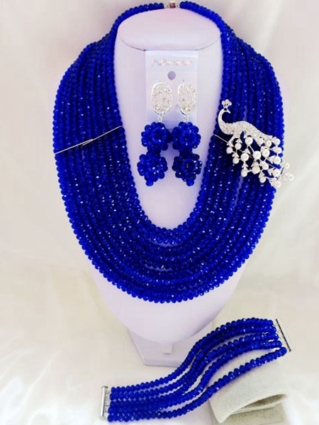 2015 new Classic Royal Blue african crystal beads necklace set nigerian wedding african beads jewelry Set WI-3054<br><br>Aliexpress