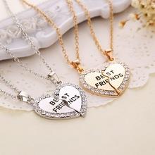 Buy Splice Heart Pendant 1 Pair Best Friend Letter Choker Necklaces&Pendants Gold Silver Crystal Chain Necklace Set Women Men for $1.49 in AliExpress store